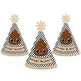 Party 'Til You're Pooped - Mini Cone Poop Emoji Party Hats - Small Little Party Hats - Set of 10