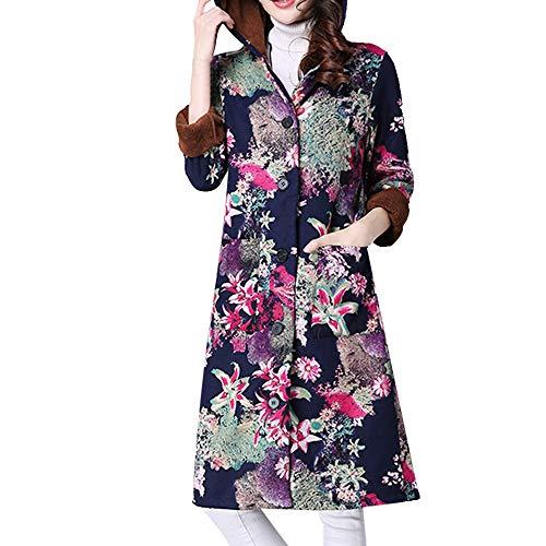 Tsmile Winter Women Coat Plus Size Folk-Custom Print Plush Cotton-Padded Jacket Long Puffer Parka Outcoat ()