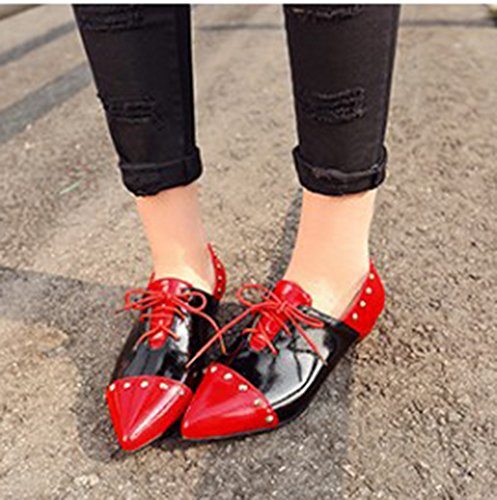 Color Dress Flats Flat Aisun Toe Lace Shoes Contrasted Pumps Up Red Stylish Womens Pointed Studded qgn7Aw0t7U