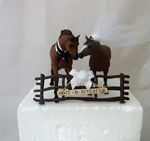 Wedding Reception Rodeo Horses Hitched Sign Cake Topper ()