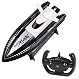 HighSound Remote Control Boat, High Speed 1:16 Racing RC Boats, 2.4GHz Transmitter with Extra Battery Set, Freshwater Only (Black)
