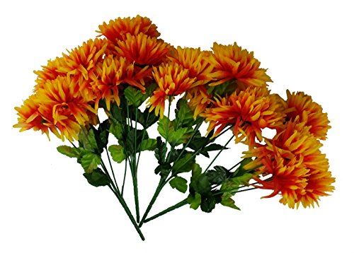 MM TJ Products Artificial Chrysantemum Bush: 7 Stems Pack of 4 (Yellow/Orange)