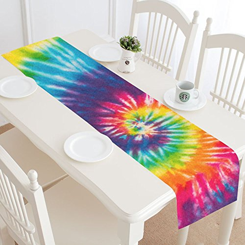 InterestPrint Rainbow Tie Dye Table Runner Home Decor 14 X 72 Inch,Spiral Tie Dye Table Cloth Runner for Wedding Party Banquet Decoration -