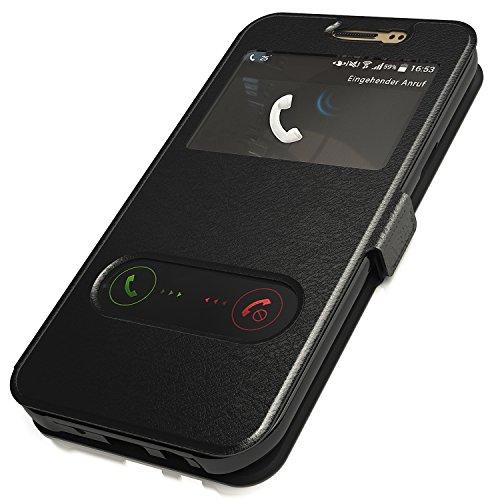 Flip Cover Handytasche Tasche Huawei P9 lite Bookstyle Case Wallet Etui Magnettasche Schwarz + Gratis Displayschutzfolie Panzerfolie Original q1® Markenware