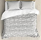 Grey Duvet Cover Set Queen Size by Ambesonne, Cute Siamese Cat on Wall Design Playing and Posing Feline Asian Kitty Animal Design, Decorative 3 Piece Bedding Set with 2 Pillow Shams, Pale Grey