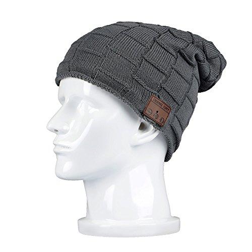 BearsFire Fashion Wireless Bluetooth Knit Hat Receiver Headphone Speaker Microphone Beanie Hat Cap Headphone Headset Earphones MP3 Speaker Music Player for Men Women Gift (Lattice dark gray)