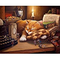 ABEUTY DIY Paint by Numbers for Adults Beginner - Sleepy Cat & Mouse Candle 16x20 inches Number Painting Anti Stress Toys (Wooden Framed)
