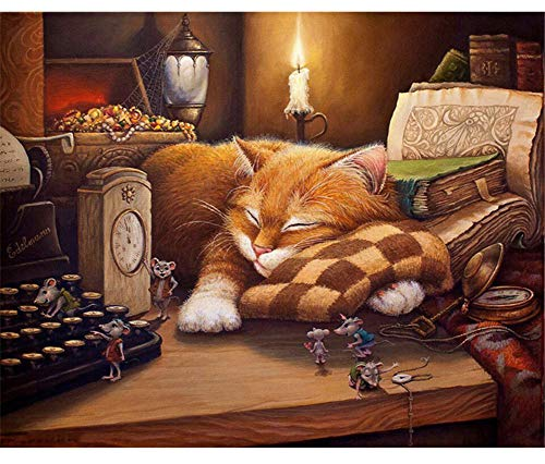 ABEUTY DIY Paint by Numbers for Adults Beginner - Sleepy Cat & Mouse Candle 16x20 inches Number Painting Anti Stress Toys (Wooden Framed) ()