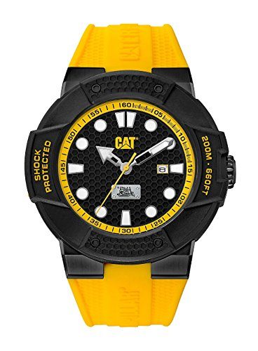 CAT Shockmaster Extra Hard Men's Analog Date Watch Black with Yellow Silicone Strap SE16127117 by Cat