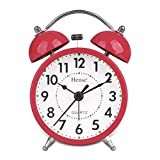HENSE Classical Retro Twin Bell Mute Silent Quartz Movement Non Ticking Sweep Second Hand Bedside Desk Analog Alarm Clock with Nightlight and Loud Alarm HA01 (Red)