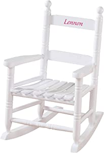 Miles Kimball Personalized Children's Rocking Chair, Features Classic Rocker Design and Hardwood Construction, White Finish with Pink Font