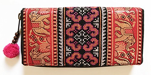 Wallet by WP Embroidery Elephant Zipper Wallet Purse Clutch Bag Handbag Iphone Case Handmade for Women, Red Wallet