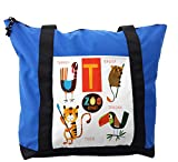 Lunarable ABC Kids Shoulder Bag, Cute Toucan Exotic Animals, Durable with Zipper