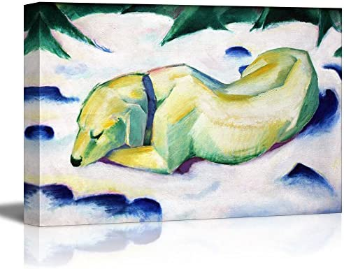 Dog Lying in The Snow by Franz Marc Print Famous Painting Reproduction