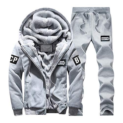 (DaySeventh Mens Hoodie Winter Warm Fleece Zipper Sweater Jacket Outwear Coat Top Pants)