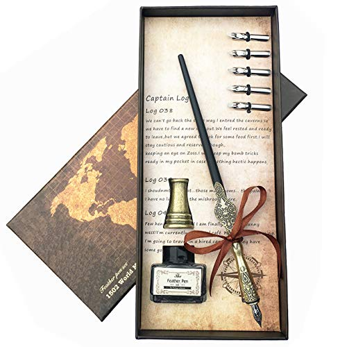 Lingery Calligraphy Dip Pen Set, 100% Hand Craft Copper Pen with Pen Holder and 11 ()