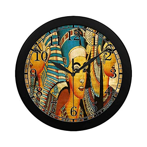 INTERESTPRINT Ancient Egyptian Parchment Pattern Wall Clock Plastic Cover Non-Ticking