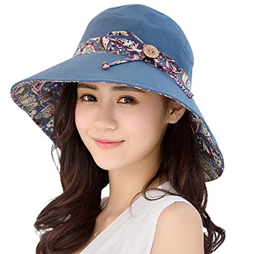 HAPEE Womens Sun Hat Hindawi Summer Reversible UPF 50+ Beach Hat Foldable Wide Brim Cap, Dark Blue, (Floppy Reversible Sun Hat)