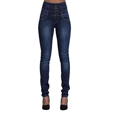 6fbe6d42e5 Damen Jeans YunYoud Frau Lange Hose Hohe Taille Slim Fit Röhrenjeans Mode  Strecken Bleistift Jeanshose Beiläufig