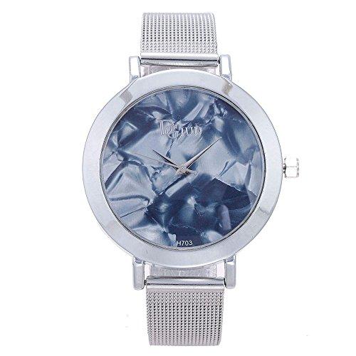 Womens Quartz Watches COOKI Ladies Fashion Minimalist Casual Quartz Analog Alloy Wristwatch Round Dial Stainless Steel Mesh Band X7 (Gray)