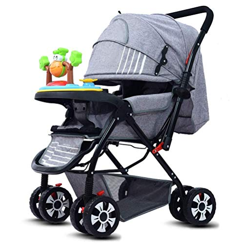 Laz Baby Stroller Foldable Infant Toddler Pram from Birth to 36 Months, with 5-Point Harness and Cup Holder (Color : Grey)