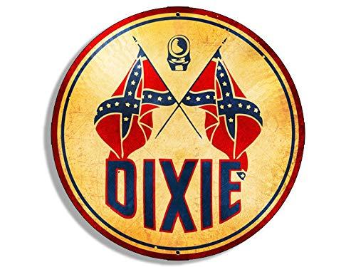 JR Studio 4x4 inch Round Vintage Dixie Logo Sticker - Gas Sign Rat Motor car Gasoline Rod Vinyl Decal Sticker Car Waterproof Car Decal Bumper ()