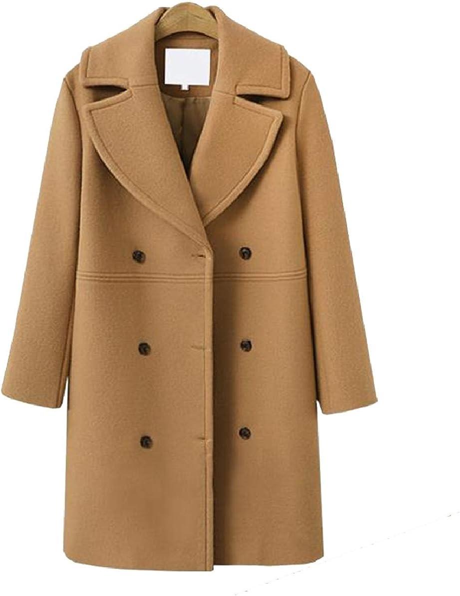 YY-qianqian Womens Fashion Fleece Overcoat Double Breasted Woolen Trench Coat Coat