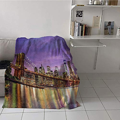 Khaki home Children's Blanket Portable Lightweight All-Season Blanket (50 by 70 Inch,New York,NYC Exquisite Skyline Manhattan Broadway Old Neighborhood Tourist Country Print,Purple Gold]()