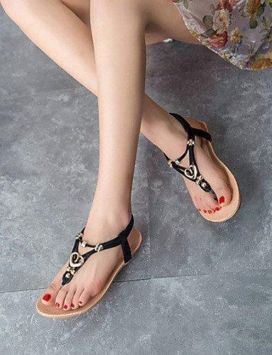 Black Women's ShangYi Casual Sandals Leatherette Comfort Flat Black Shoes Heel White gwq81wCx