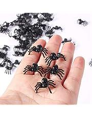 Atyhao 50 stks 2 cm Kleine Zwarte Plastic Fake Spider Speelgoed Halloween Grappige Grap Prank Realistische Props Party Favors