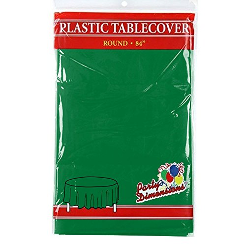 "Green Round Plastic Tablecloth - 4 Pack - Premium Quality Disposable Party Table Covers for Parties and Events - 84"" - By Party Dimensions by Party Dimensions"