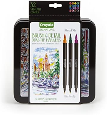 amazon com crayola brush markers dual tip with ultra fine marker