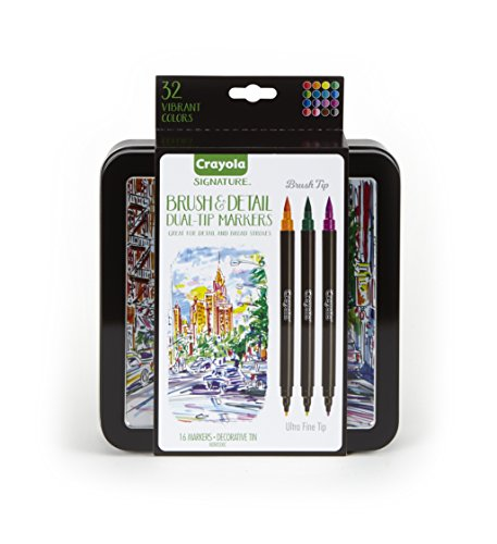 Box Fine Art - Crayola Brush Markers, Dual-Tip with Ultra Fine Marker, Assorted Colors, Decorative Storage Case, 32 Colors
