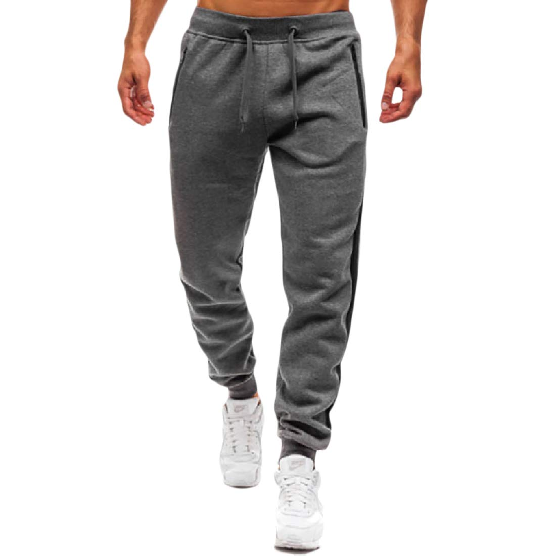 Abetteric Mens Drawstring Athletic Casual Loose Striped Full Zip Sweatpant