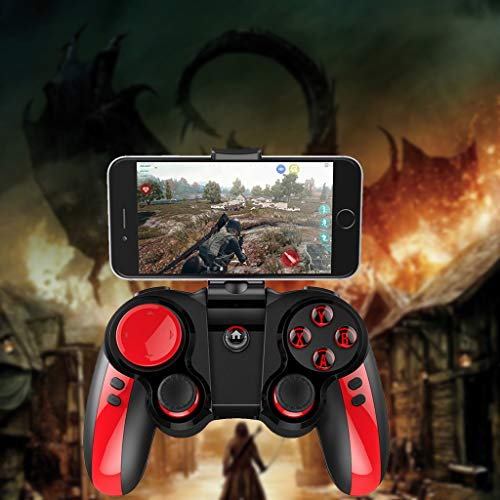Glumes Gamepad Gaming Controller Wireless Bluetooth Gaming Joystick Joypad with Clamp Holder Compatible with iOS/iPhone/iPad/PS4 remote play - Black