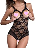 ALLureLove Women's Lingerie Open Cup Crotchless One-piece Teddy