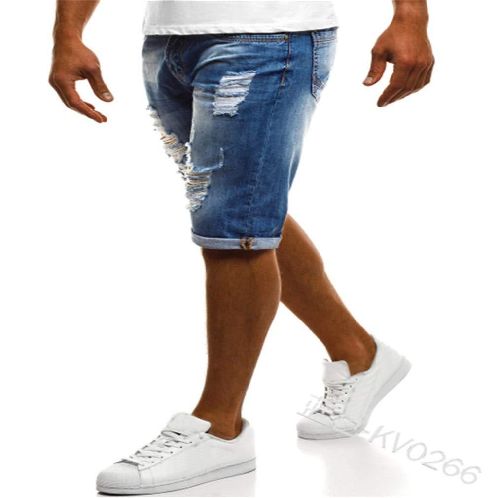 Hibote Uomo Denim Pantaloncini Strappato Buco Pantaloni Corti Vita Elastica Coulisse Jeans Estate Casual Shorts Lunghezza del Ginocchio con Tasche S-3XL