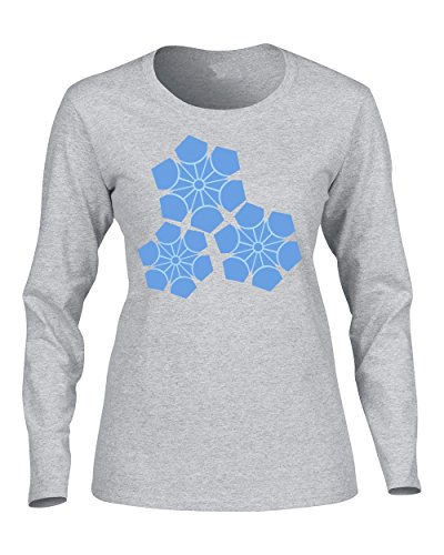 Exull Fashion Hot Style Blue Snow Flake In Winter For Women's Long Sleeve Shirt Gray Medium by Exull