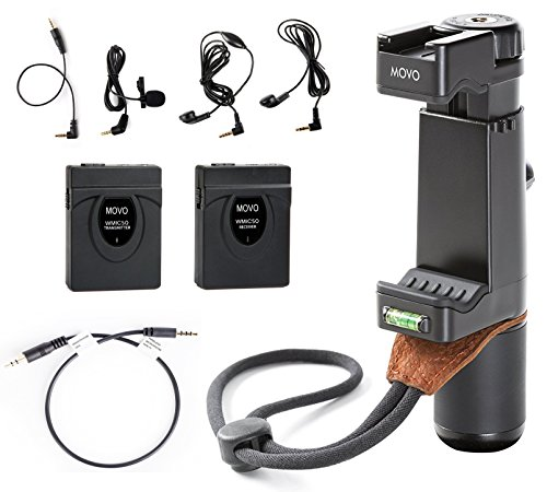 Movo 2.4GHz Wireless Lavalier Microphone + Video Grip Rig Bundle for iPhone X, 8, 7, 7 Plus, 6S, 6, 5, 5S, Samsung Galaxy / Note, & Android Smartphones by Movo