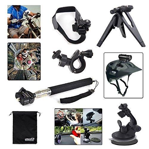 EEEKit 6in1 Bike Car Sports Mount Kit for Contour ROAM ROAM2 ROAM Plus 2 ROAM3 Action Camera,Selfie Stick Handheld Monopod/Handlebar/Helmet/Car Mount