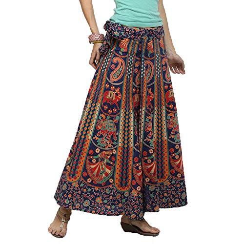 Lcoco&Dream Women's Bohemian Vintage Print A Line Long Maxi Skirt Hippie Boho Dresses Drawstring Waist (Drawstring Print Skirt)