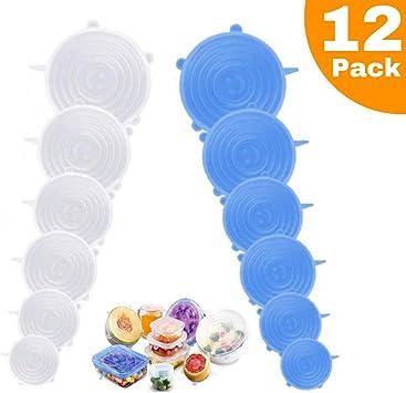 Fundas para Tazones De Varios Tama/ñOs De Reutilizable para Tazones Y Comida Horno Y Congelador Microondas 12 Paquetes Azul /& Blanco Lavavajillas Arfbear Tapas de Silicona El/áSticas