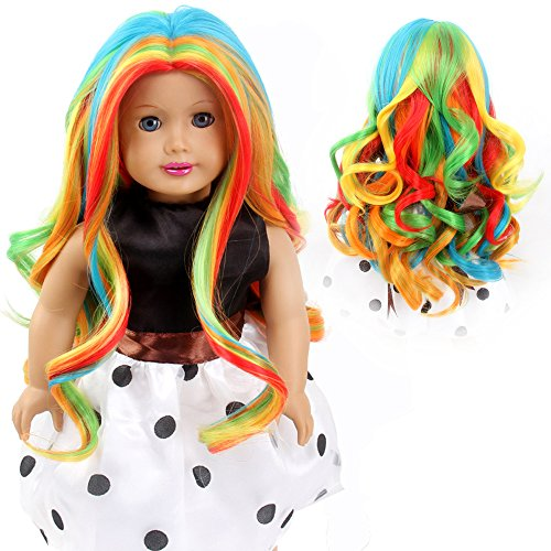 STfantasy American Girl Doll Wigs Rainbow Ombre Multicolor Long Curly Wavy Hairpiece for 11