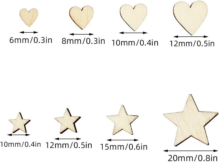 YunBey 400 Pieces Wood Star Slices Mini Wooden Stars for Hanging Mini Wooden Mixed Hearts Wood Heart Embellishments for Wedding Christmas Party Decoration and DIY Handicrafts