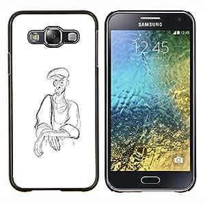 EJOOY---Cubierta de la caja de protección para la piel dura ** Samsung Galaxy E5 E500 ** --Hombre Campesino Arte del dibujo de lápiz de carbón Sombrero