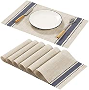 AHHFSMEI Beige Placemats for Dining Table Set of 6 Woven Vinyl Plastic Place Mats Non-Slip Heat Insulation Sta