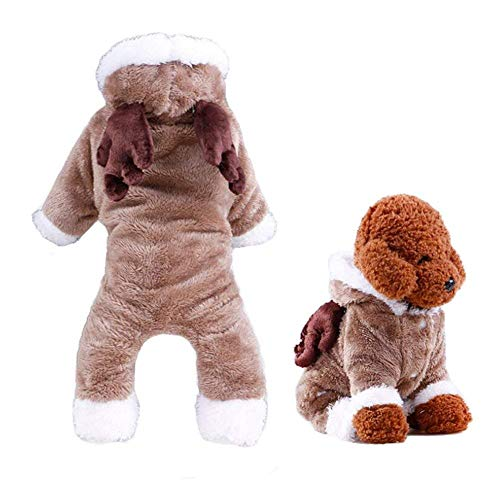 WORDERFUL Pet Xmas Costume Dog Reindeer Winter Clothes Cat Warm Elk Costume Pet Soft Coral Fleece Winter/Autume Coat with Hoodies (M) -