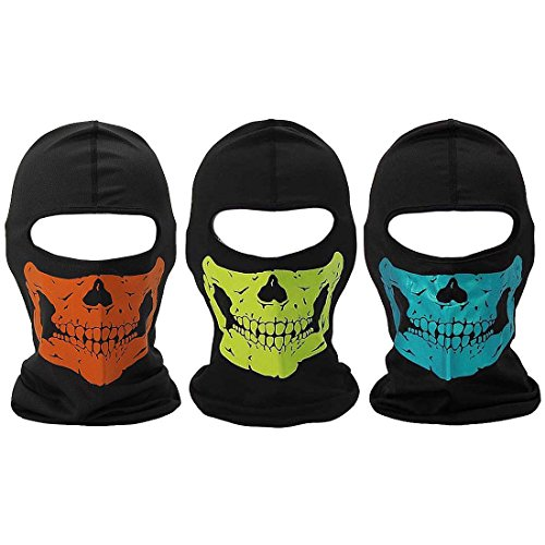 Bundle Monster 3pc Lightweight Breathable Poly Blend Stretchy Wind and UV Protecting Face Mask Balaclava - Skull Jaws