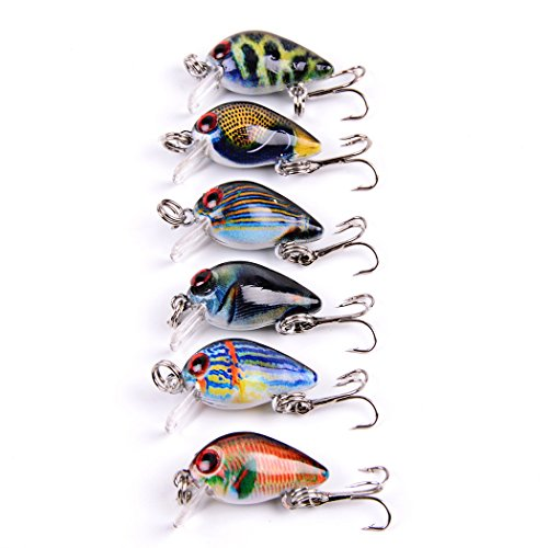 Aorace 6pcs/lot 1.5g/3cm Small Crankbait Top Water Fishing Wobbler Colorful Mini Crank Bait Bass Fishing Tackle Treble Hooks