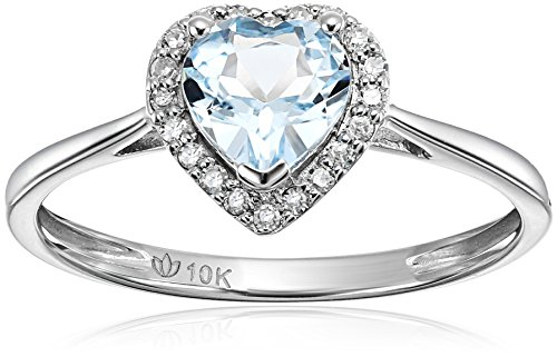 Aquamarine Heart Ring - 10k White Gold Aquamarine and Diamond Solitaire Heart Halo Engagement Ring (1/10cttw, H-I Color, I1-I2 Clarity), Size 7